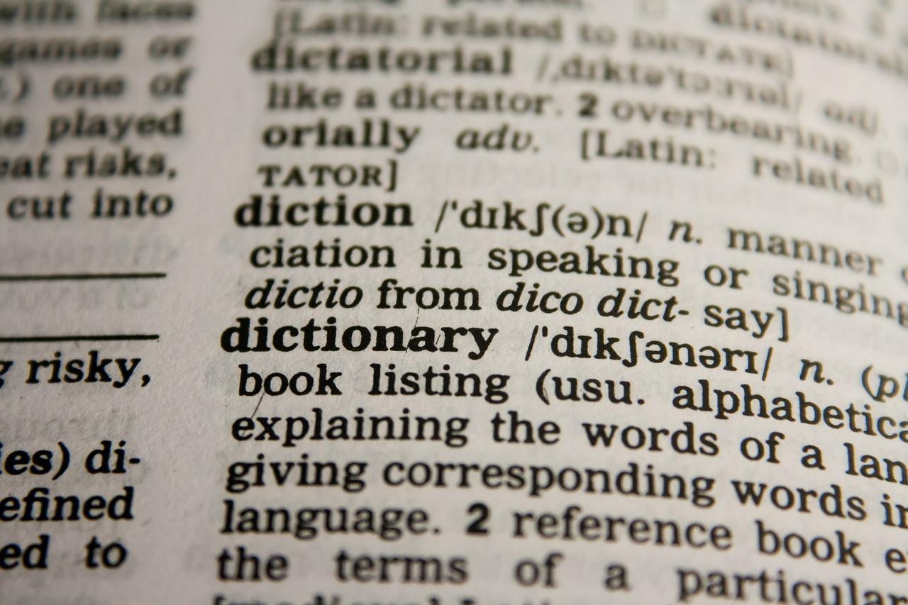 Página de um dicionário mostrando a palavra dictionary.